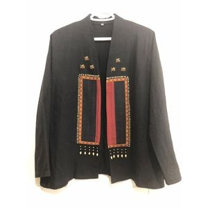 Embroidered Beaded Thai Cotton Open Jacket Blk XL
